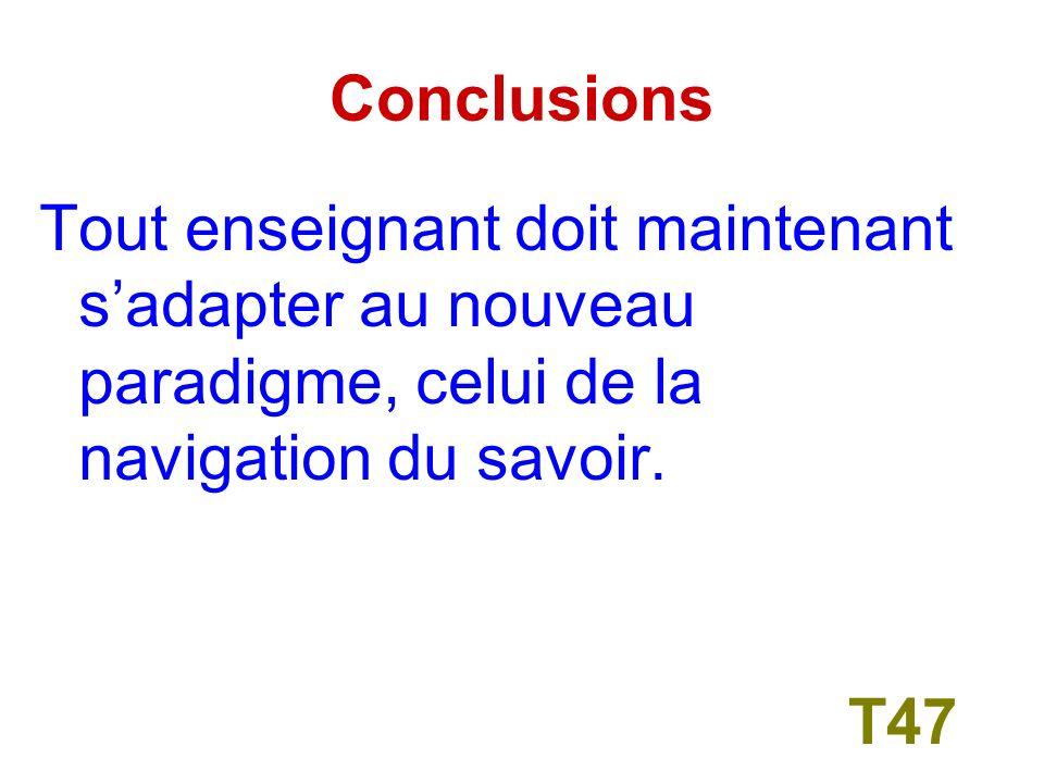 Conclusions De lorganisation de lenseignement et de la conception de lapprentissage, voire de la façon dont létudiant sapproprie la connaissance.