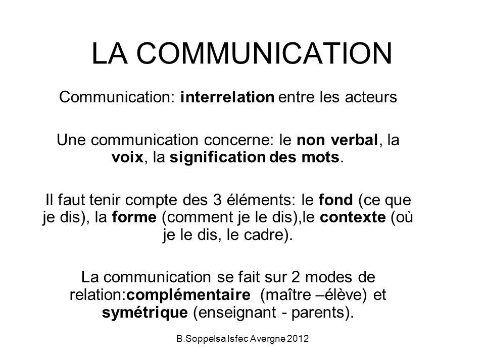 LA COMMUNICATION Communication: interrelation entre les acteurs Une communication concerne: le non verbal, la voix, la signification des mots.