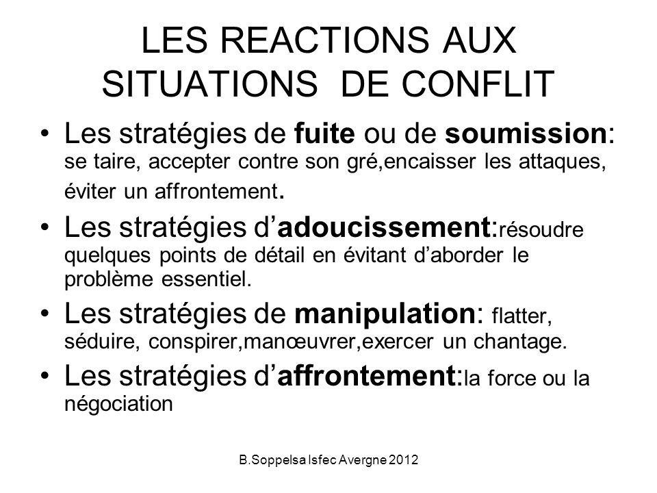 LES REACTIONS AUX SITUATIONS DE CONFLIT Les stratégies de fuite ou de soumission: se taire, accepter contre son gré,encaisser les attaques, éviter un affrontement.