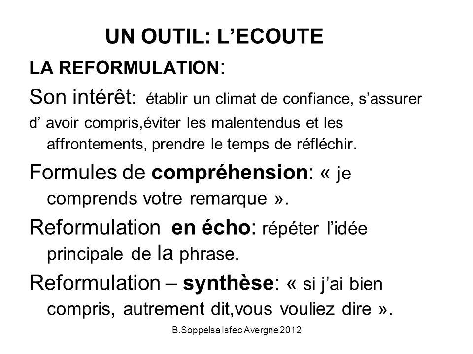 UN OUTIL: LECOUTE LA REFORMULATION : Son intérêt : établir un climat de confiance, sassurer d avoir compris,éviter les malentendus et les affrontements, prendre le temps de réfléchir.