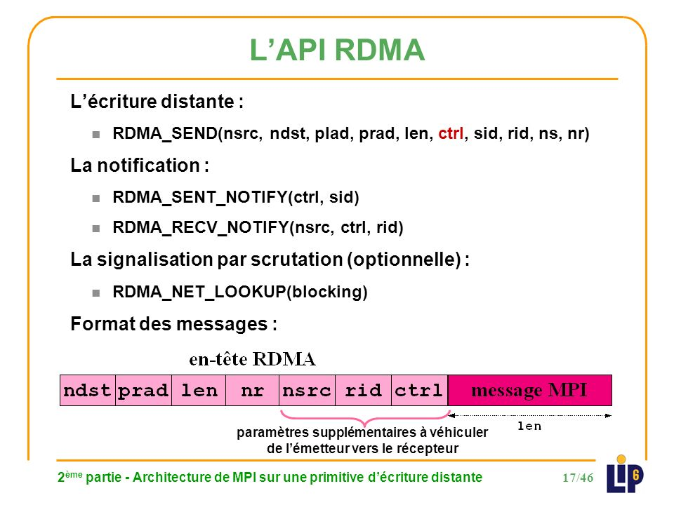 17/46 LAPI RDMA 2 ème partie - Architecture de MPI sur une primitive décriture distante Lécriture distante : n RDMA_SEND(nsrc, ndst, plad, prad, len, ctrl, sid, rid, ns, nr) La notification : n RDMA_SENT_NOTIFY(ctrl, sid) n RDMA_RECV_NOTIFY(nsrc, ctrl, rid) La signalisation par scrutation (optionnelle) : n RDMA_NET_LOOKUP(blocking) Format des messages : paramètres supplémentaires à véhiculer de lémetteur vers le récepteur