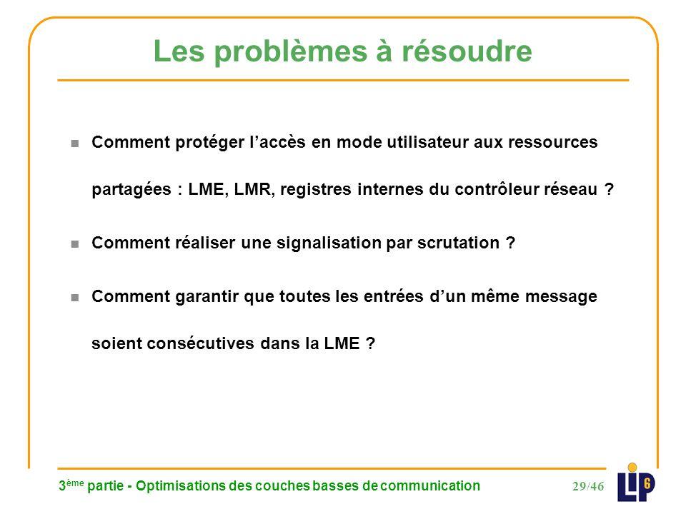 29/46 3 ème partie - Optimisations des couches basses de communication Les problèmes à résoudre n Comment protéger laccès en mode utilisateur aux ressources partagées : LME, LMR, registres internes du contrôleur réseau .