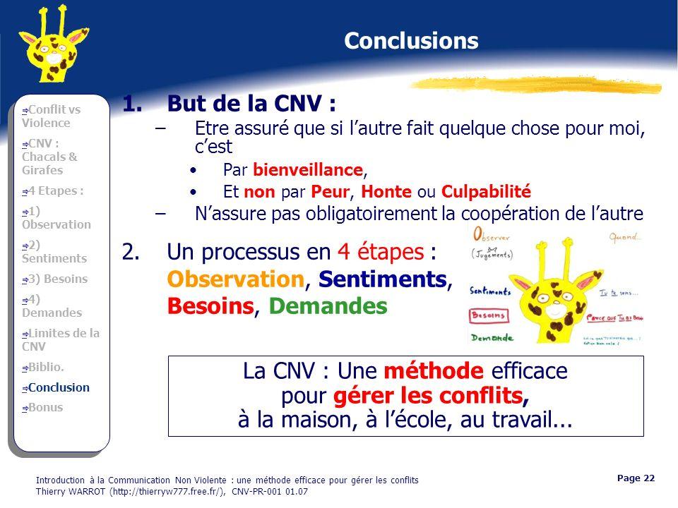 Introduction à la Communication Non Violente : une méthode efficace pour gérer les conflits Thierry WARROT (http://thierryw777.free.fr/), CNV-PR-001 0
