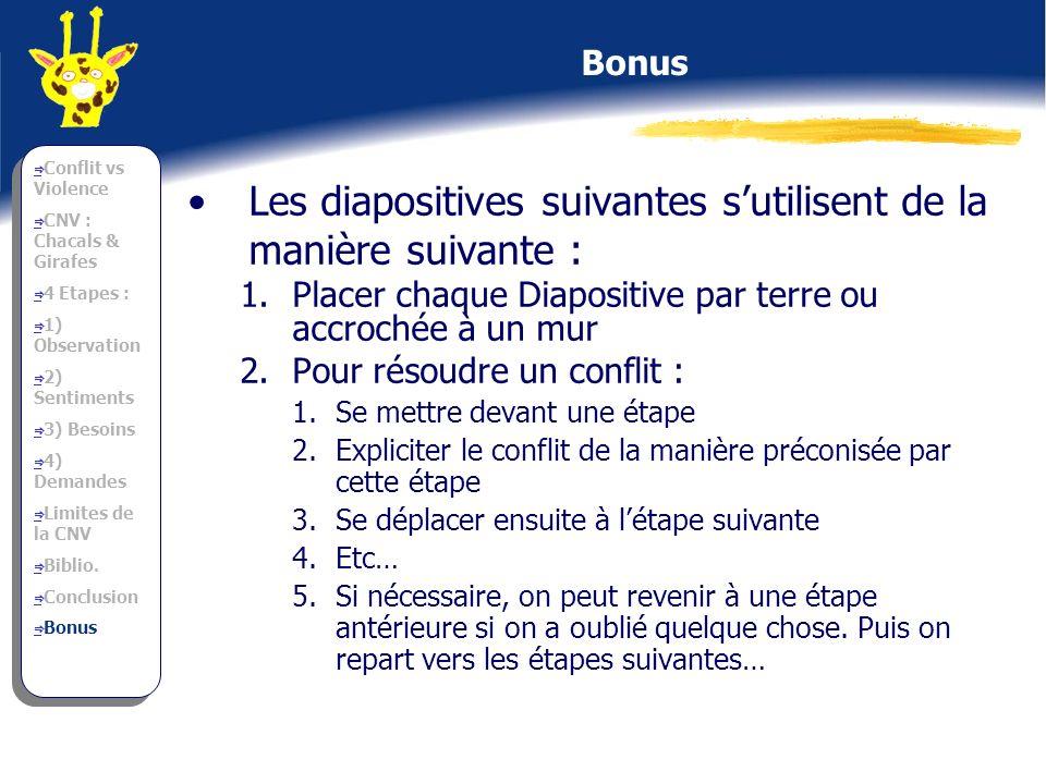Les diapositives suivantes sutilisent de la manière suivante : 1.Placer chaque Diapositive par terre ou accrochée à un mur 2.Pour résoudre un conflit