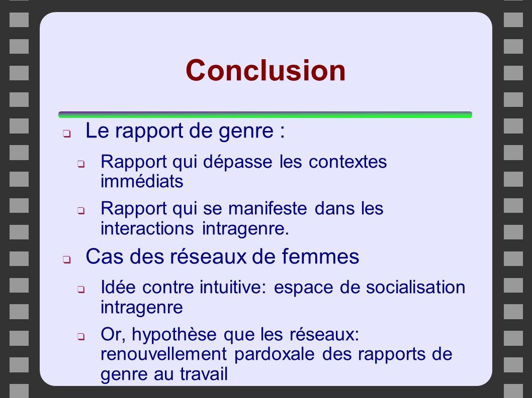 Conclusion Le rapport de genre : Rapport qui dépasse les contextes immédiats Rapport qui se manifeste dans les interactions intragenre. Cas des réseau