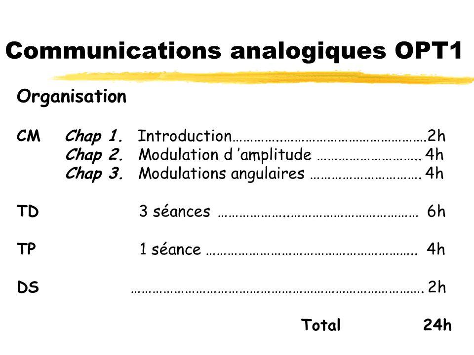 Communications analogiques EII1 Organisation CMChap 1. Introduction…………..………………………………….2h Chap 2. Modulation d amplitude ……………………….. 3h Chap 3. Modula