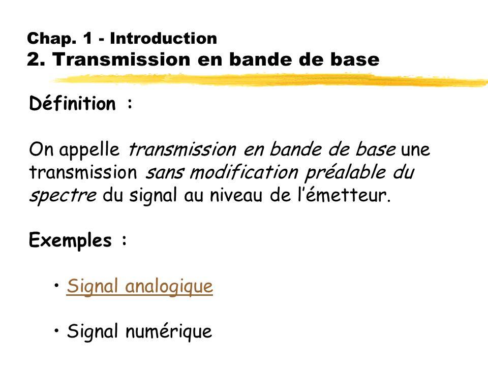 Chap. 1 - Introduction 1. Structure générale dune chaîne de transmission B) Information numérique ETTD ETCD Ligne de transmission