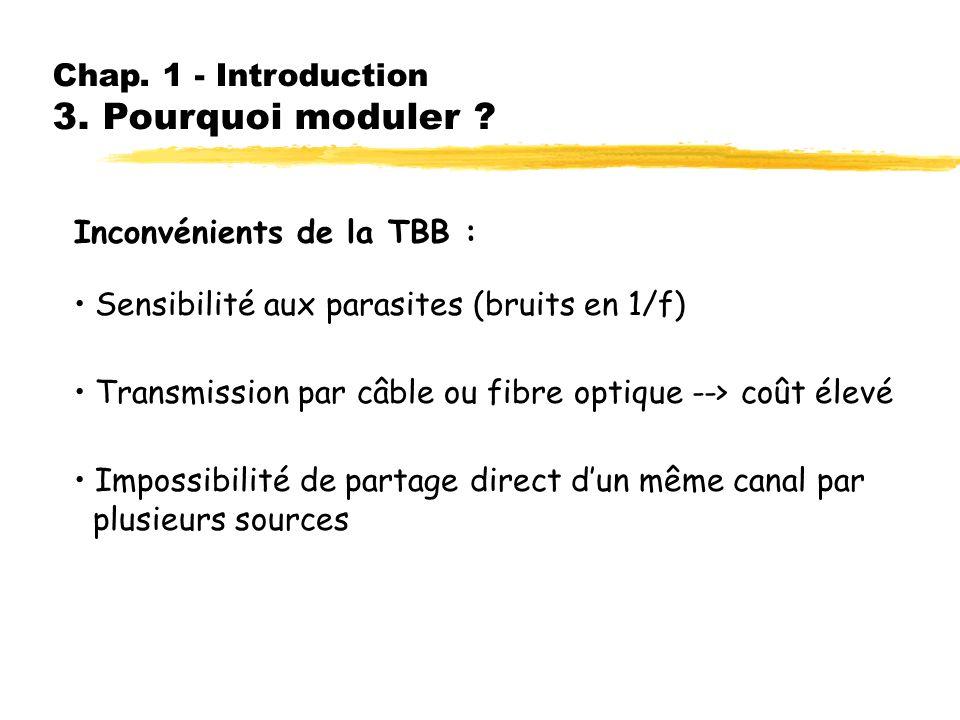 Chap. 1 - Introduction 2. Transmission en bande de base Avantages de la TBB : Possibilité de multiplexage temporel Émetteurs et récepteurs simples