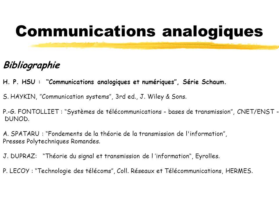 Organisation CMChap 1. Introduction…………..………………………………….2h Chap 2. Modulation d amplitude ……………………….. 4h Chap 3. Modulations angulaires …………………………. 4h