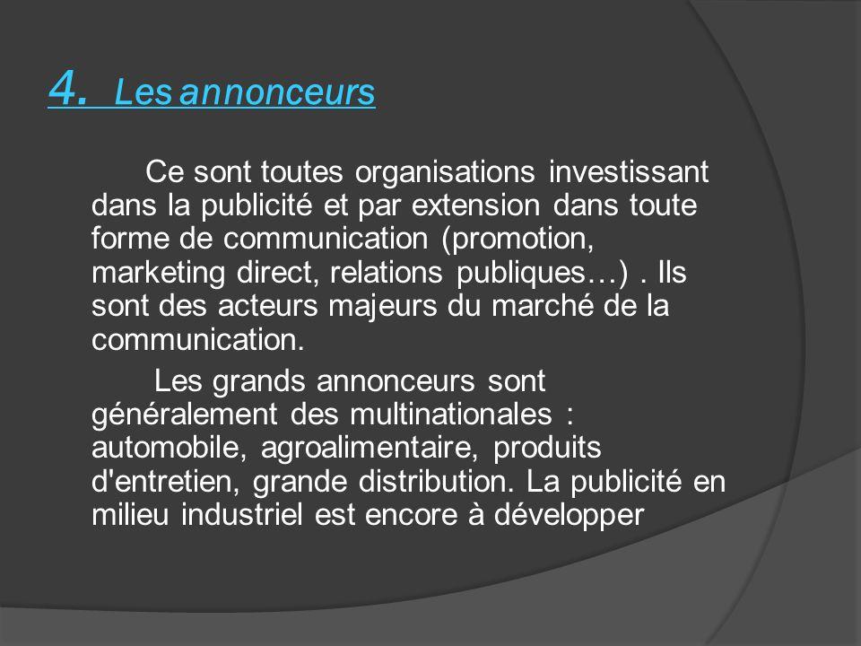 4. Les annonceurs Ce sont toutes organisations investissant dans la publicité et par extension dans toute forme de communication (promotion, marketing