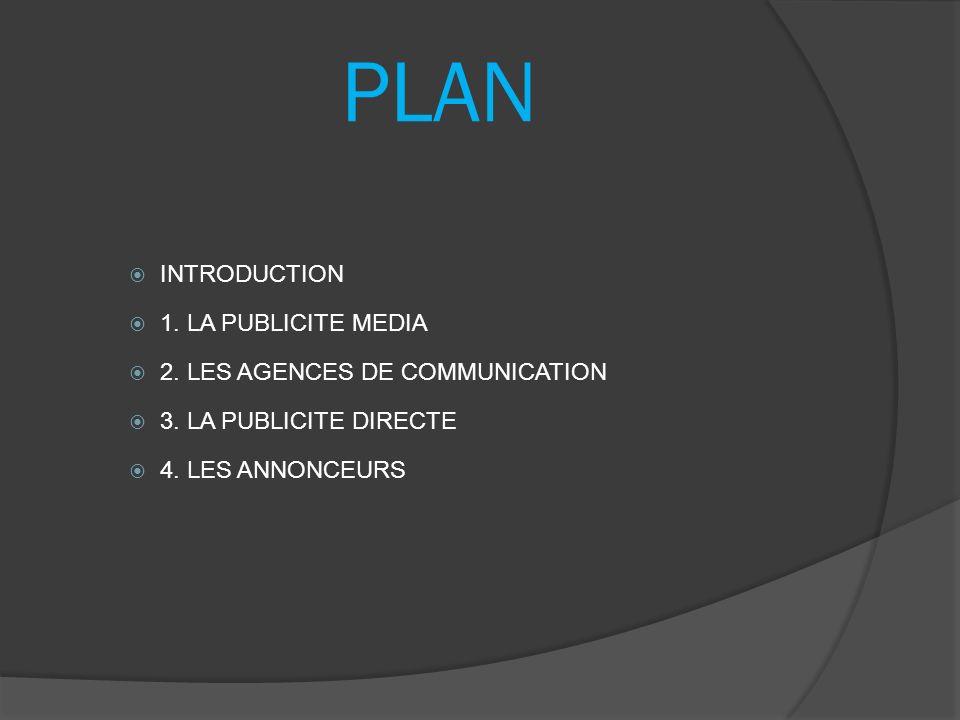 PLAN INTRODUCTION 1. LA PUBLICITE MEDIA 2. LES AGENCES DE COMMUNICATION 3. LA PUBLICITE DIRECTE 4. LES ANNONCEURS