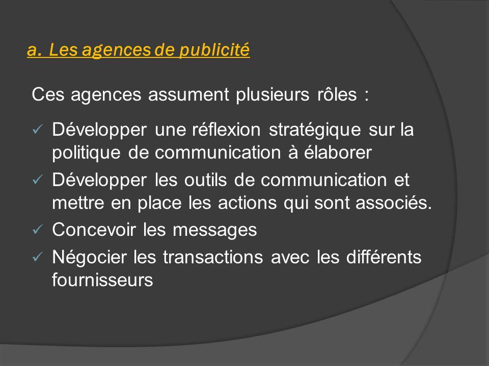 a. Les agences de publicité Ces agences assument plusieurs rôles : Développer une réflexion stratégique sur la politique de communication à élaborer D