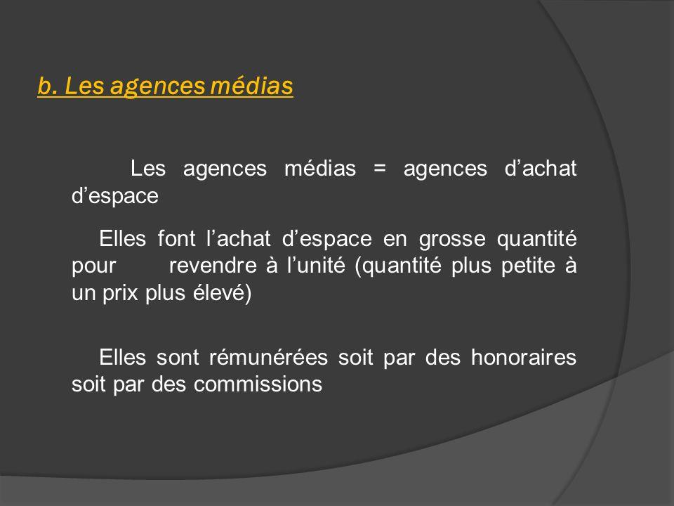 b. Les agences médias Les agences médias = agences dachat despace Elles font lachat despace en grosse quantité pour revendre à lunité (quantité plus p