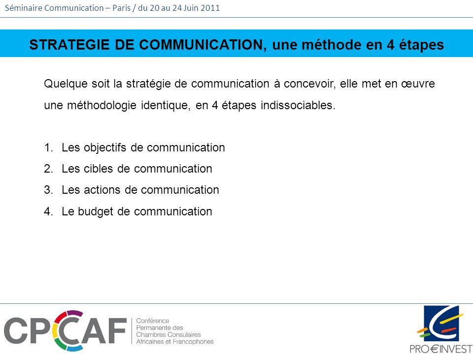 Séminaire Communication – Paris / du 20 au 24 Juin 2011 STRATEGIE DE COMMUNICATION, une méthode en 4 étapes Quelque soit la stratégie de communication