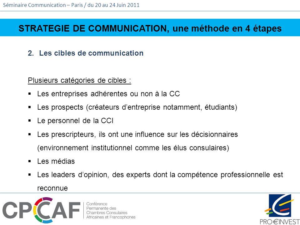 Séminaire Communication – Paris / du 20 au 24 Juin 2011 STRATEGIE DE COMMUNICATION, une méthode en 4 étapes 2.Les cibles de communication Plusieurs ca