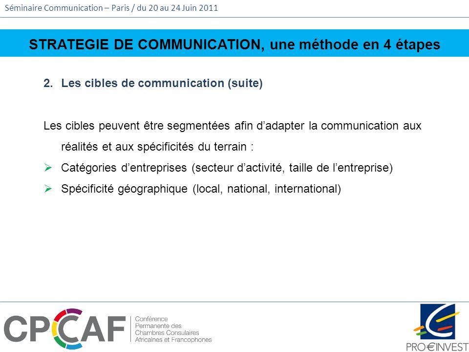 Séminaire Communication – Paris / du 20 au 24 Juin 2011 STRATEGIE DE COMMUNICATION, une méthode en 4 étapes 2.Les cibles de communication (suite) Les