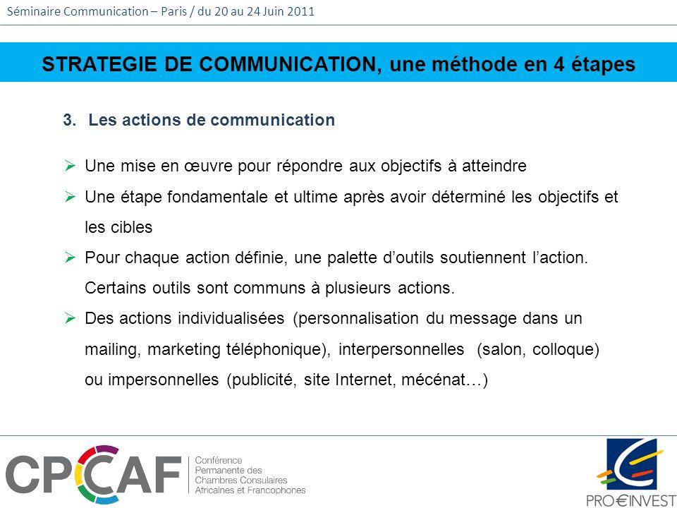 Séminaire Communication – Paris / du 20 au 24 Juin 2011 STRATEGIE DE COMMUNICATION, une méthode en 4 étapes 3.Les actions de communication Une mise en