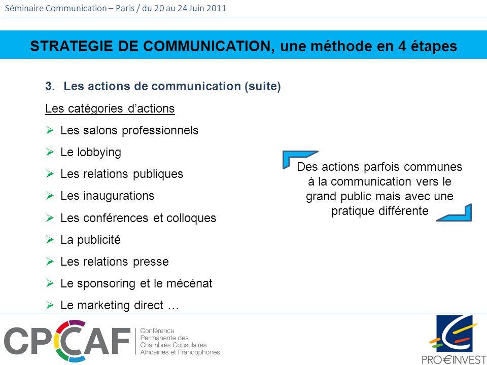 Séminaire Communication – Paris / du 20 au 24 Juin 2011 STRATEGIE DE COMMUNICATION, une méthode en 4 étapes 3.Les actions de communication (suite) Les