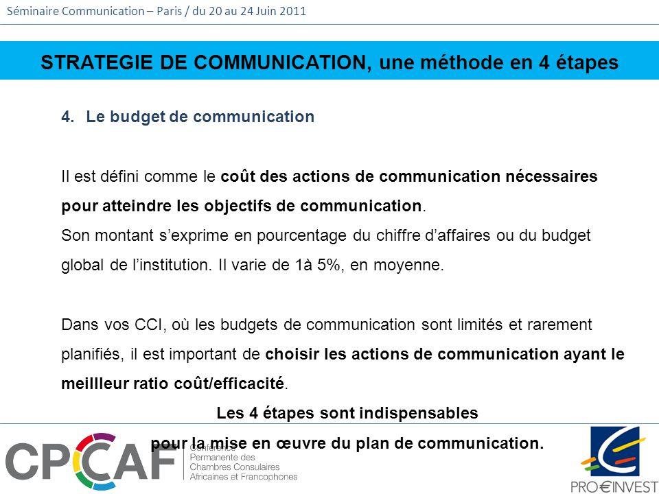 Séminaire Communication – Paris / du 20 au 24 Juin 2011 STRATEGIE DE COMMUNICATION, une méthode en 4 étapes 4.Le budget de communication Il est défini
