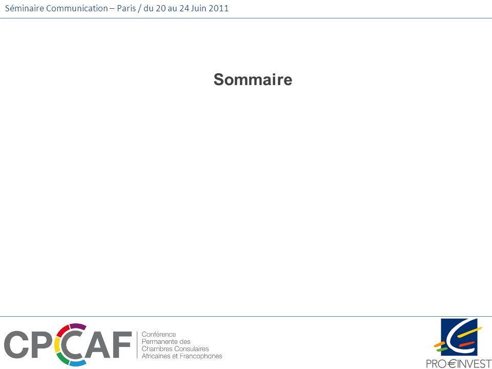 Séminaire Communication – Paris / du 20 au 24 Juin 2011 Sommaire
