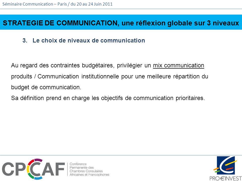 Séminaire Communication – Paris / du 20 au 24 Juin 2011 STRATEGIE DE COMMUNICATION, une réflexion globale sur 3 niveaux 3. Le choix de niveaux de comm
