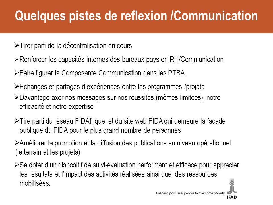 Quelques pistes de reflexion /Communication Tirer parti de la décentralisation en cours Renforcer les capacités internes des bureaux pays en RH/Commun