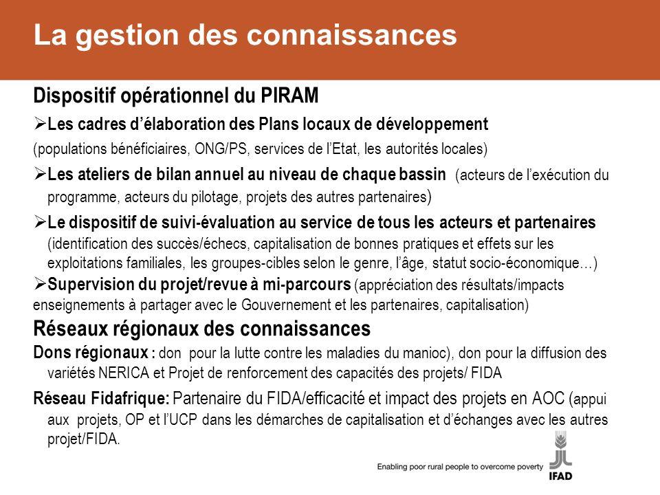 La gestion des connaissances Dispositif opérationnel du PIRAM Les cadres délaboration des Plans locaux de développement (populations bénéficiaires, ON