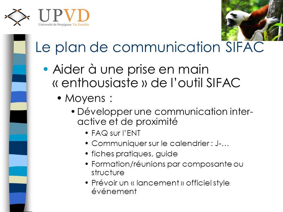 Aider à une prise en main « enthousiaste » de loutil SIFAC Moyens : Développer une communication inter- active et de proximité FAQ sur lENT Communique