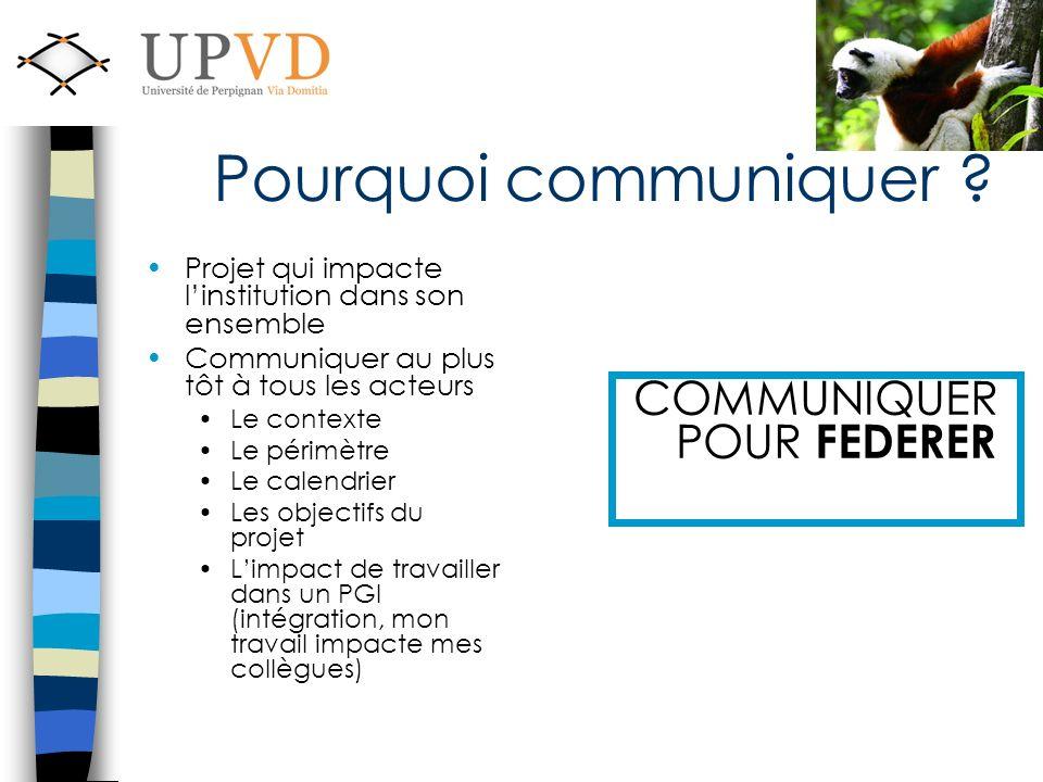 Pourquoi communiquer ? Projet qui impacte linstitution dans son ensemble Communiquer au plus tôt à tous les acteurs Le contexte Le périmètre Le calend