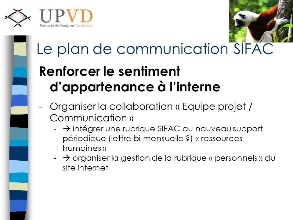 Renforcer le sentiment dappartenance à linterne -Organiser la collaboration « Equipe projet / Communication » - intégrer une rubrique SIFAC au nouveau