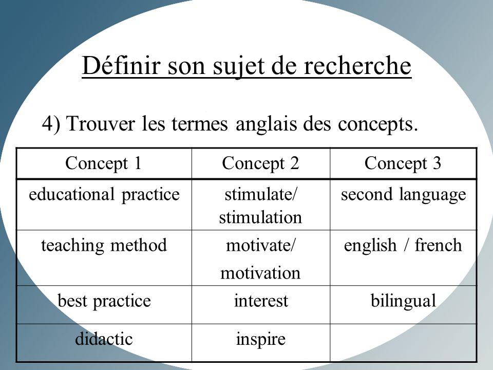 Définir son sujet de recherche 4) Trouver les termes anglais des concepts.