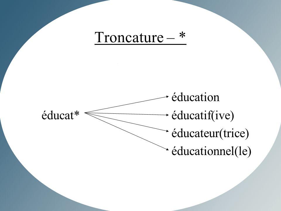 Troncature – * éducation éducat*éducatif(ive) éducateur(trice) éducationnel(le)