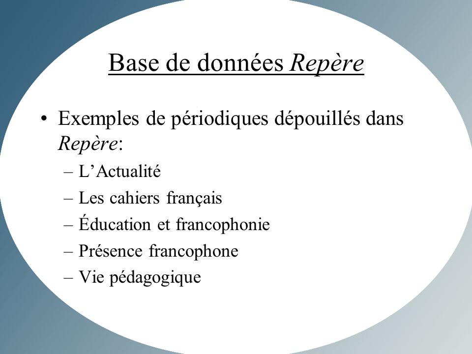 Base de données Repère Exemples de périodiques dépouillés dans Repère: –LActualité –Les cahiers français –Éducation et francophonie –Présence francophone –Vie pédagogique