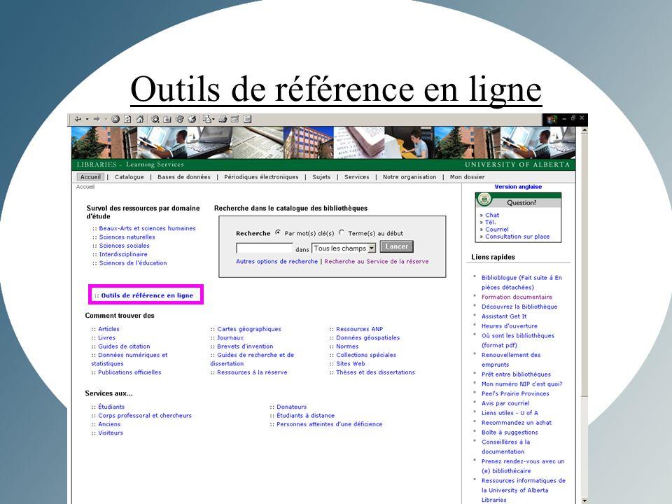 Outils de référence en ligne