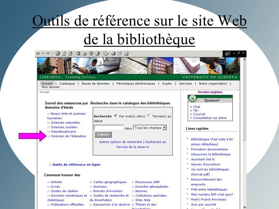 Outils de référence sur le site Web de la bibliothèque