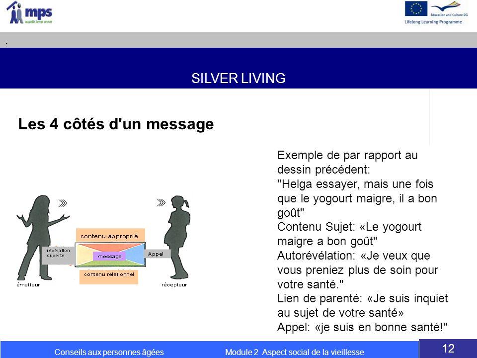 SILVER LIVING. 12 Conseils aux personnes âgées Module 2 Aspect social de la vieillesse Les 4 côtés d'un message Exemple de par rapport au dessin précé