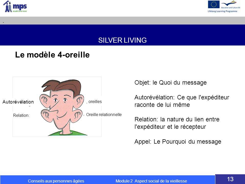 SILVER LIVING. 13 Conseils aux personnes âgées Module 2 Aspect social de la vieillesse Le modèle 4-oreille Objet: le Quoi du message Autorévélation: C