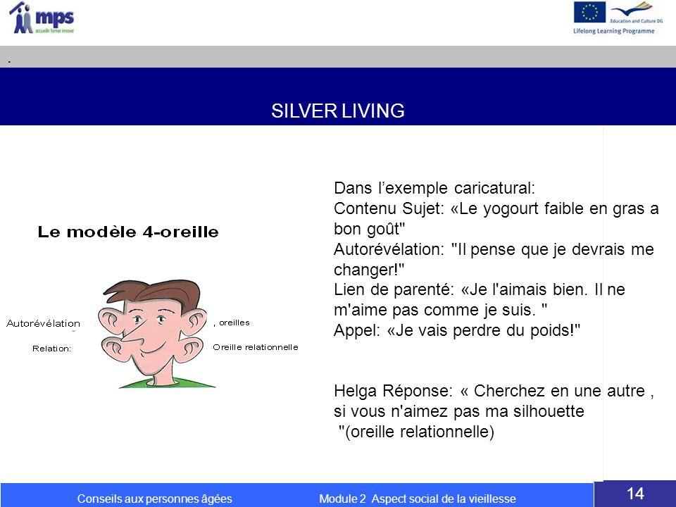 SILVER LIVING. 14 Conseils aux personnes âgées Module 2 Aspect social de la vieillesse Dans lexemple caricatural: Contenu Sujet: «Le yogourt faible en
