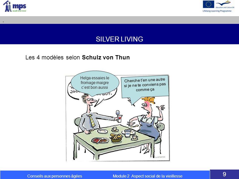 SILVER LIVING. 9 Conseils aux personnes âgées Module 2 Aspect social de la vieillesse Les 4 modèles selon Schulz von Thun Helga essaies le fromage mai