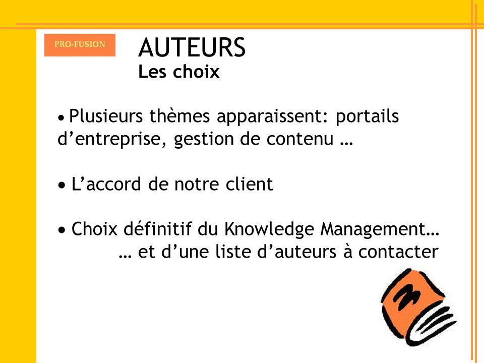 Plusieurs thèmes apparaissent: portails dentreprise, gestion de contenu … Laccord de notre client Choix définitif du Knowledge Management… … et dune l