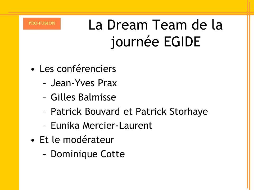 La Dream Team de la journée EGIDE Les conférenciers –Jean-Yves Prax –Gilles Balmisse –Patrick Bouvard et Patrick Storhaye –Eunika Mercier-Laurent Et l