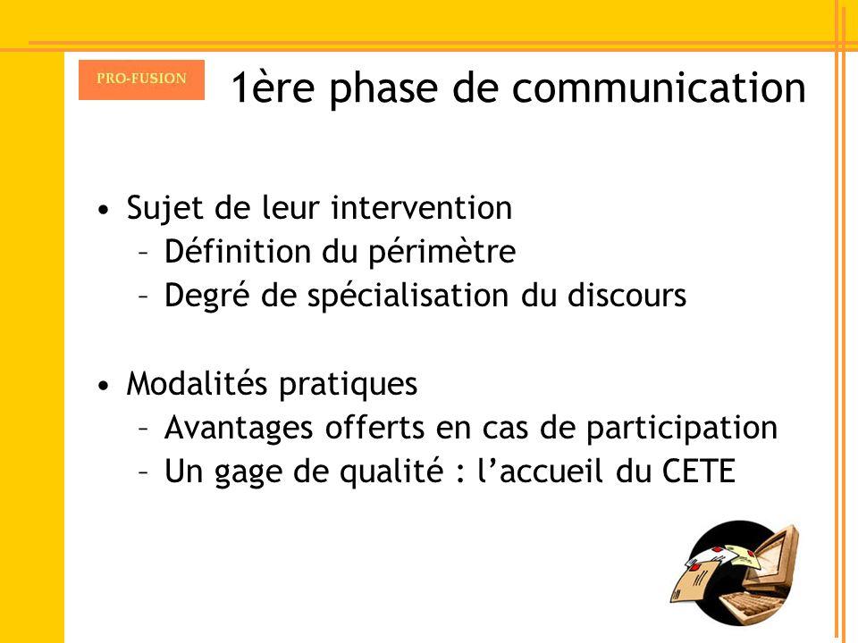 1ère phase de communication Sujet de leur intervention –Définition du périmètre –Degré de spécialisation du discours Modalités pratiques –Avantages of
