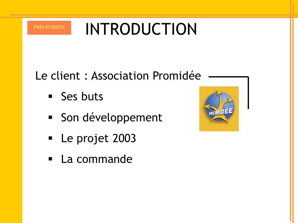 INTRODUCTION Le client : Association Promidée Ses buts Son développement Le projet 2003 La commande
