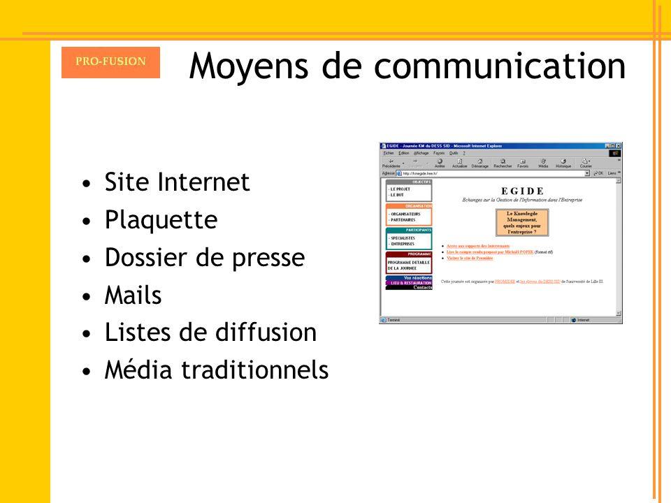 Moyens de communication Site Internet Plaquette Dossier de presse Mails Listes de diffusion Média traditionnels