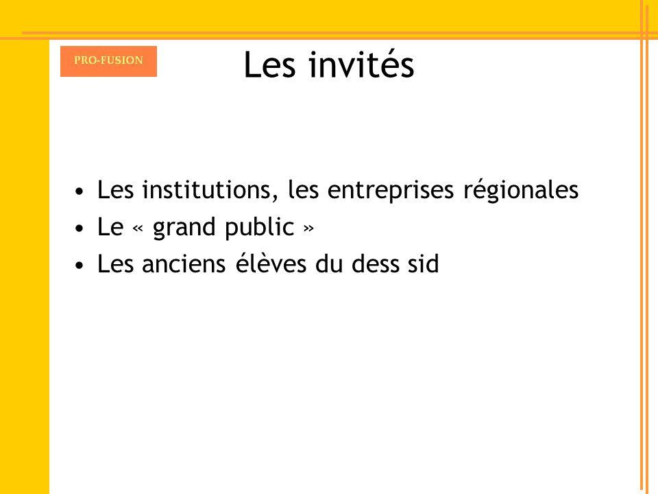 Les invités Les institutions, les entreprises régionales Le « grand public » Les anciens élèves du dess sid
