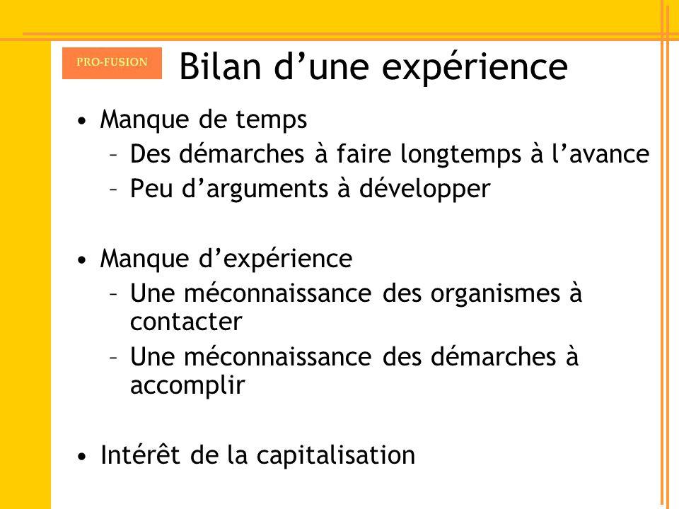 Bilan dune expérience Manque de temps –Des démarches à faire longtemps à lavance –Peu darguments à développer Manque dexpérience –Une méconnaissance d