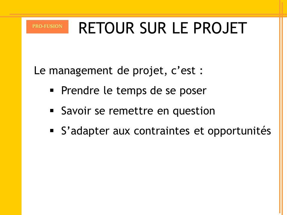 Le management de projet, cest : Prendre le temps de se poser Savoir se remettre en question Sadapter aux contraintes et opportunités RETOUR SUR LE PRO