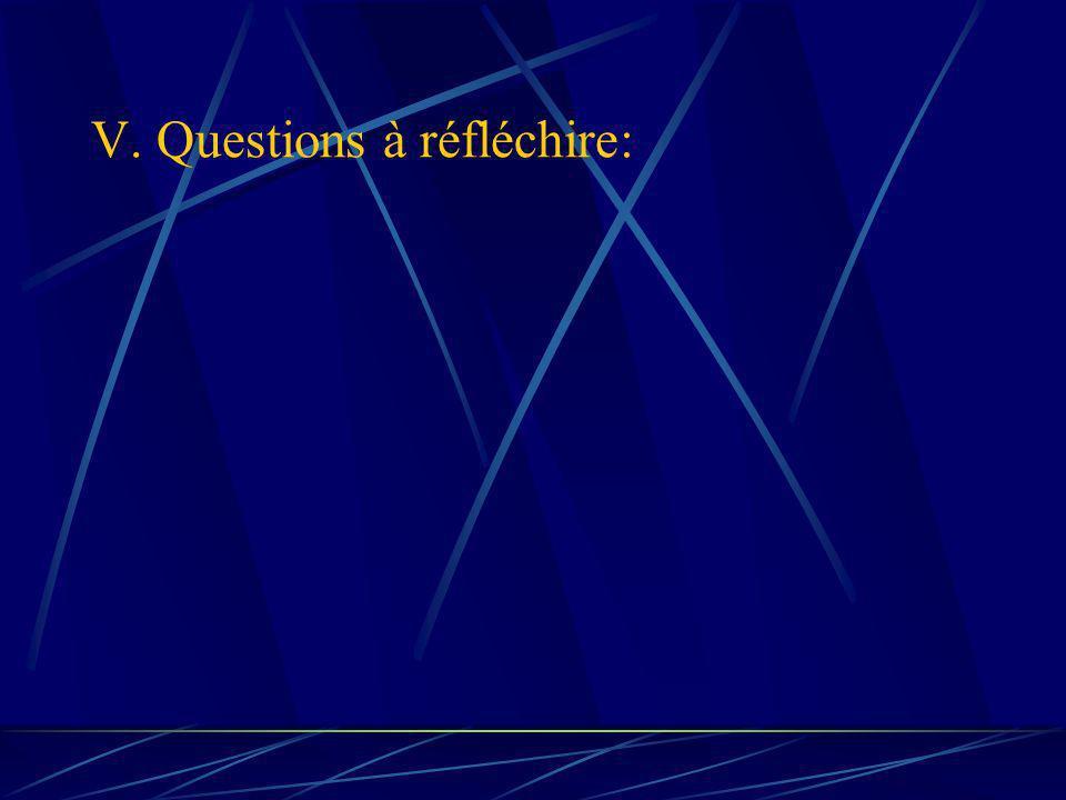 V. Questions à réfléchire: