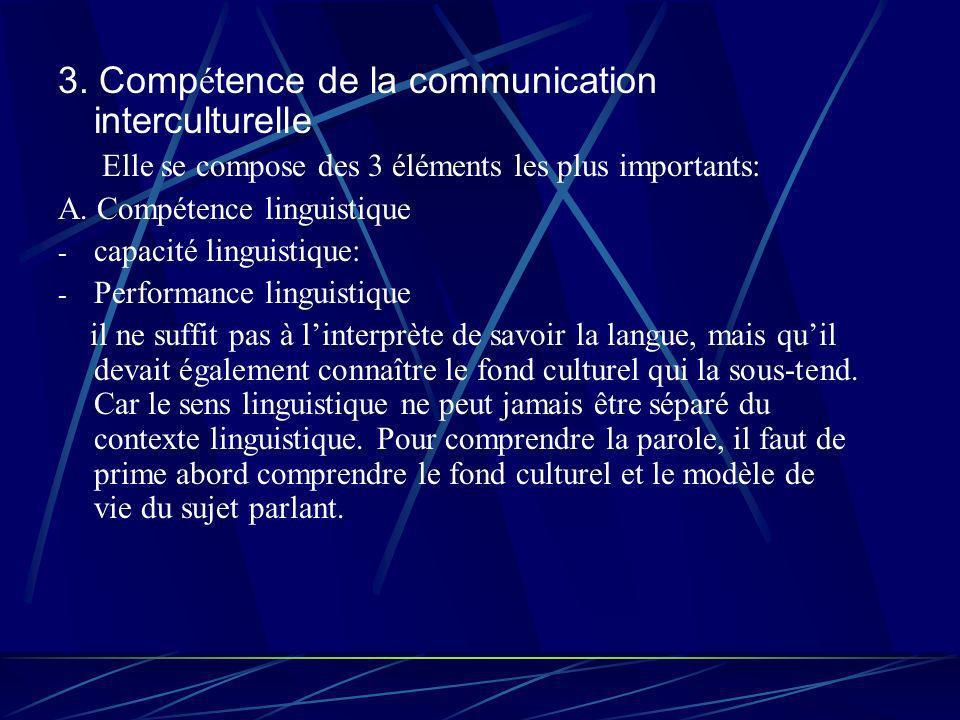 3. Comp é tence de la communication interculturelle Elle se compose des 3 éléments les plus importants: A. Compétence linguistique - capacité linguist