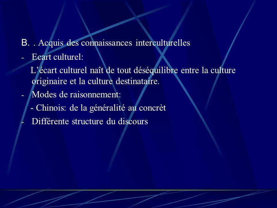B.. Acquis des connaissances interculturelles - Ecart culturel: Lécart culturel naît de tout déséquilibre entre la culture originaire et la culture de